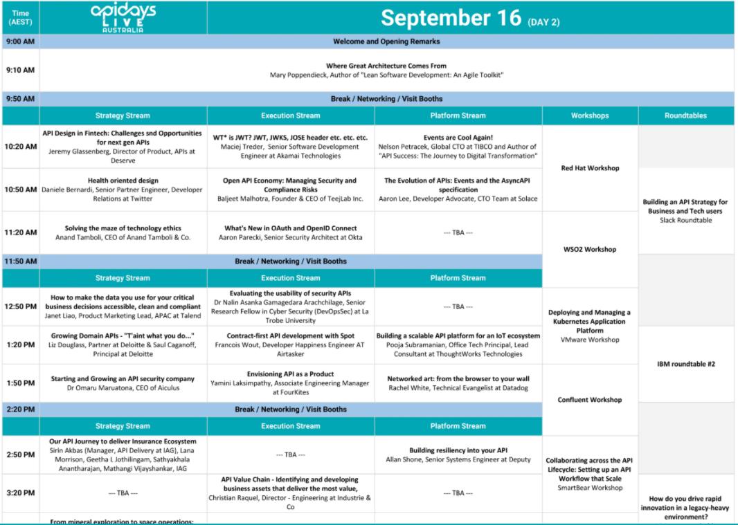 apiDays agenda day 2