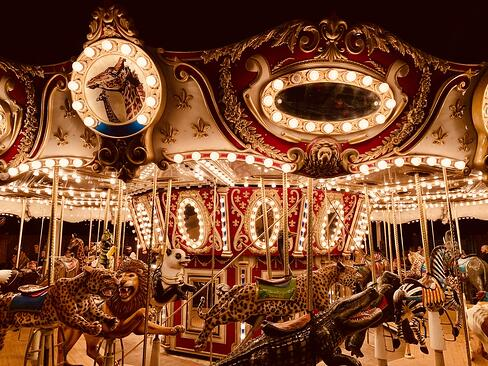 A carousel, like you might find at a circus full of clowns.